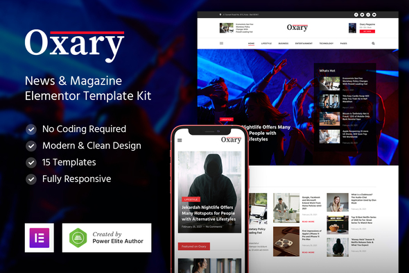 Oxary – News & Magazine Elementor Template Kit