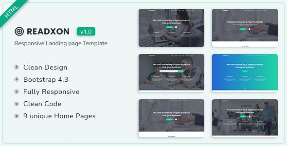Readxon - Landing Page Template