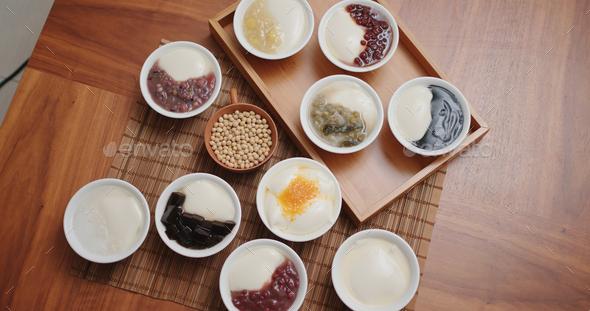 Chinese style dessert on tofu puddling - Stock Photo - Images
