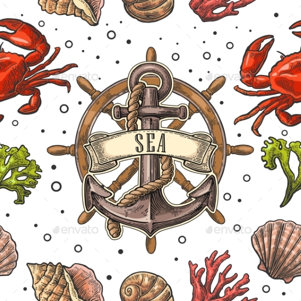 Seamless Pattern Sea Shell Coral Crab and Anchor