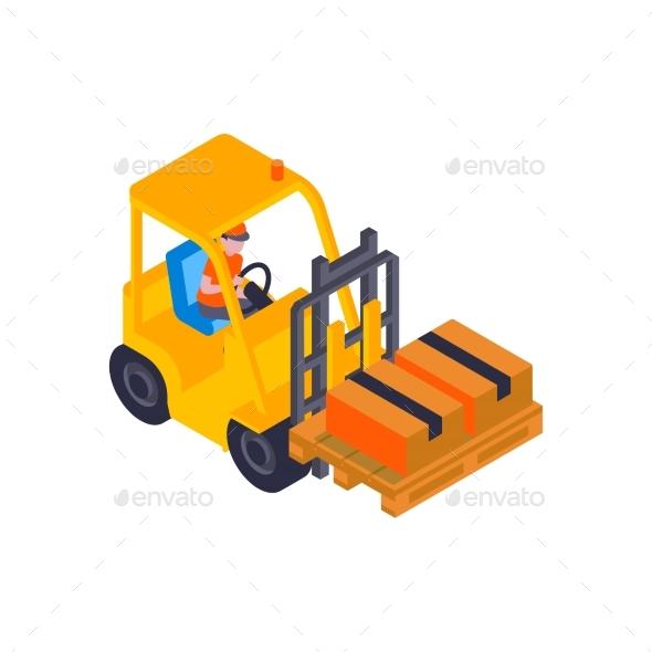 Forklift With Parcels Composition
