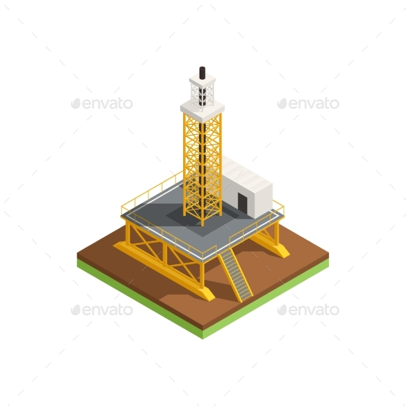 Isometric Oil Platform Composition