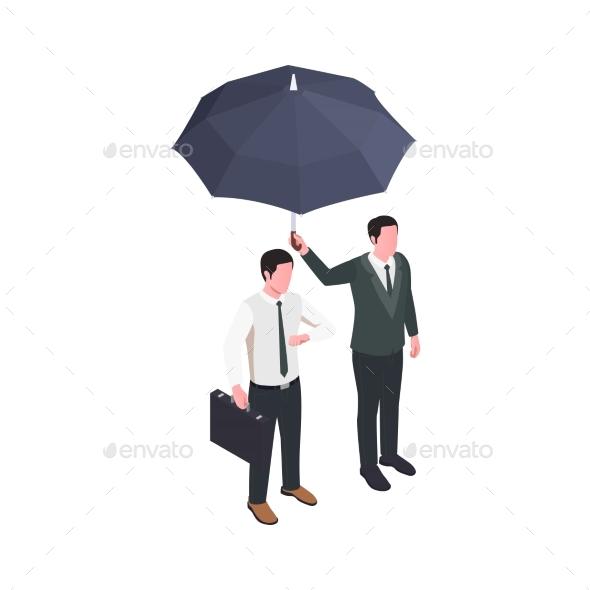 Umbrella Insurance Isometric Composition