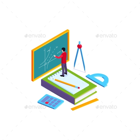 Blackboard School Isometric Composition