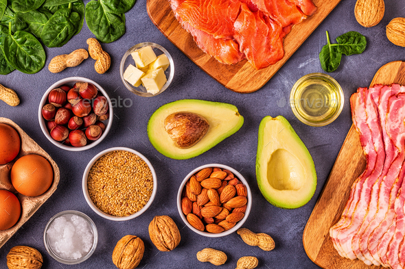 Keto, ketogenic diet, low carb, healthy food background. - Stock Photo - Images