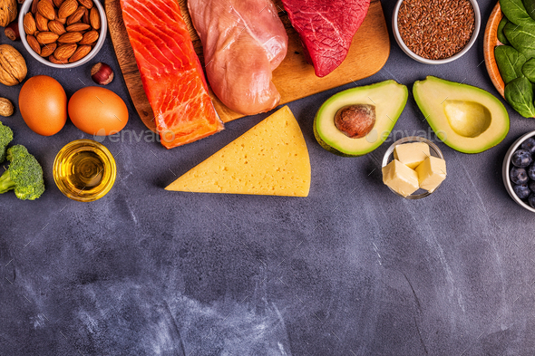 Balanced low carb, high good fat , healthy food. - Stock Photo - Images