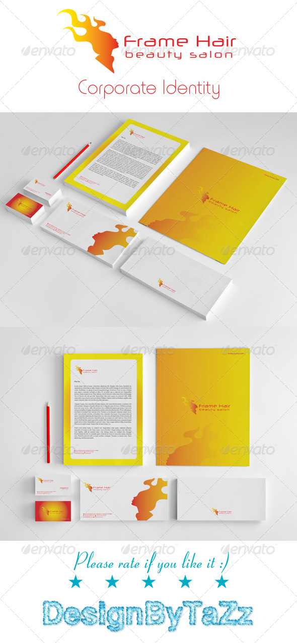 Frame Hair Corporate Identity Package - Stationery Print Templates
