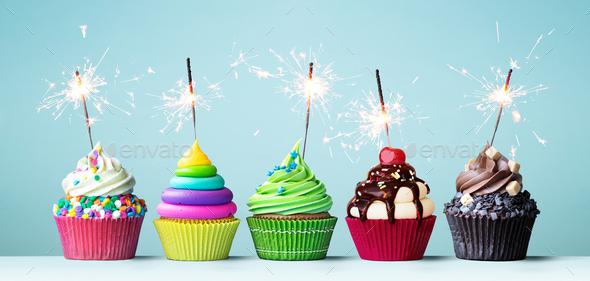 Colorful celebration cupcakes - Stock Photo - Images