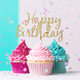Happy birthday cupcakes in pink and blue - PhotoDune Item for Sale