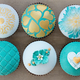 Teal and gold wedding cupcakes - PhotoDune Item for Sale