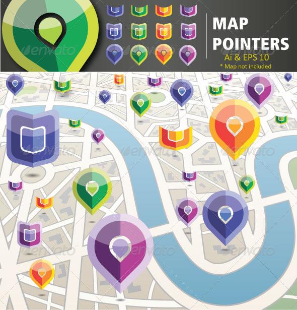 Map Pointers - Web Elements Vectors