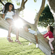 Young mixed race girl with her younger sister and brother, climbing a tree - PhotoDune Item for Sale