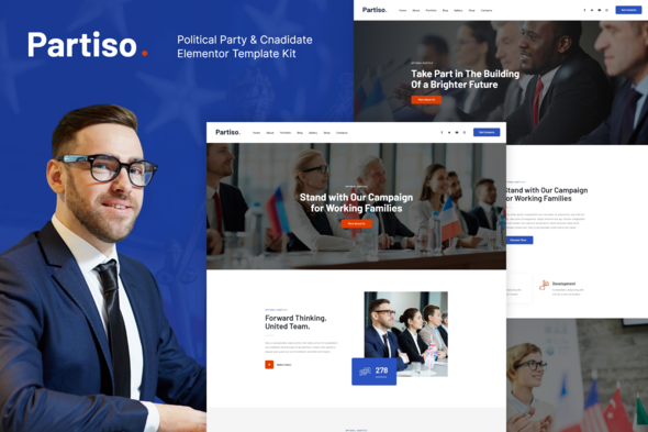 Partiso   Political Party & Candidate Elementor Template Kit