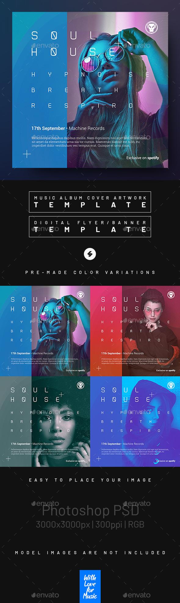 Soul House –  Music Album Cover / Digital Flyer Template
