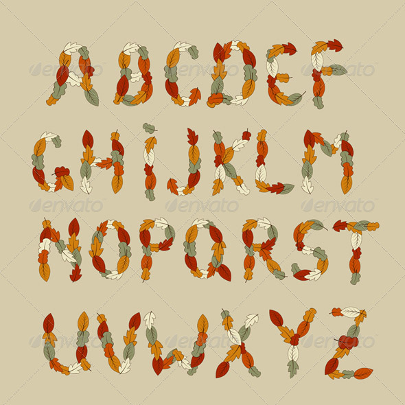 Vector Autumn Latin Alphabet - Miscellaneous Vectors