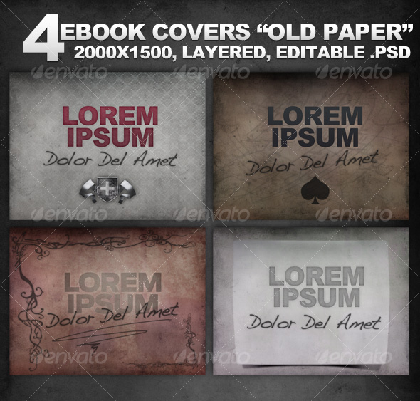 "4 Layered eBook Covers ""Old Paper"" - Miscellaneous Web Elements"