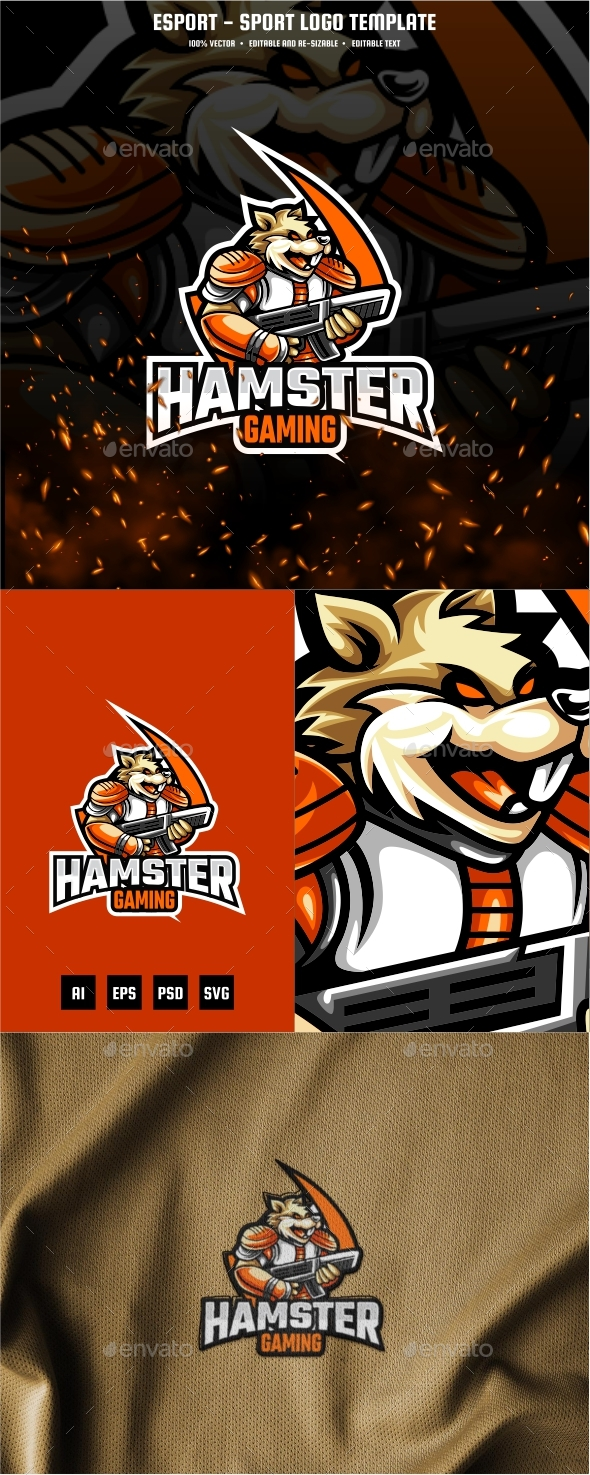Hamster Gaming E-sport and Sport Logo Template