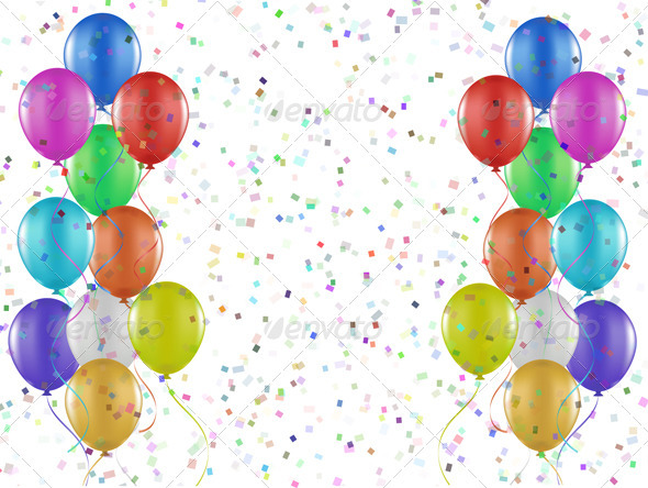 Balloons and confetti background - Seasons/Holidays Conceptual