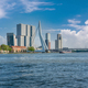 Rotterdam city cityscape skyline with Erasmus bridge and river. South Holland, Netherlands. - PhotoDune Item for Sale