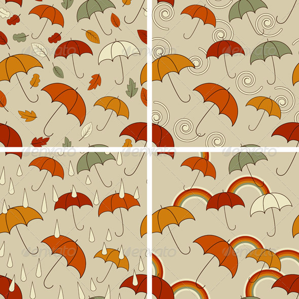 4 Vector Autumn  Seamless Patterns - Patterns Decorative
