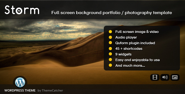 Storm WordPress - Full Screen Background Theme - Photography Creative