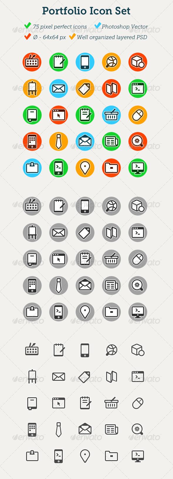 75 Portfolio Icons  - Web Icons