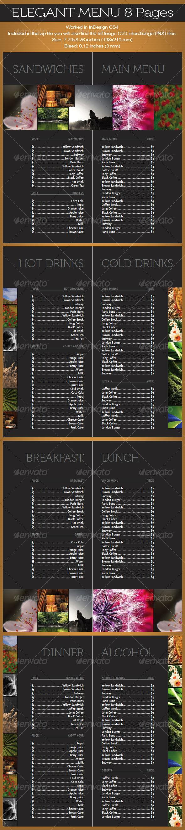 Elegant Menu 8 pages - Food Menus Print Templates