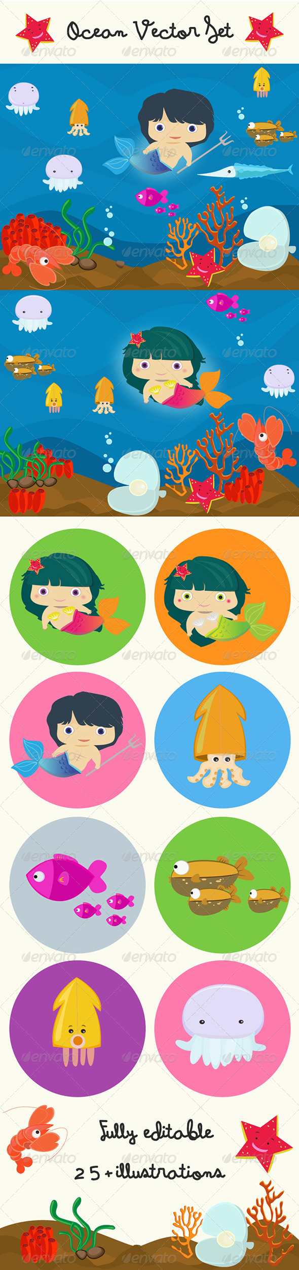 Ocean Vectors Set - People Characters