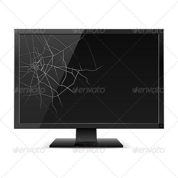 Broken Black Monitor - Decorative Symbols Decorative