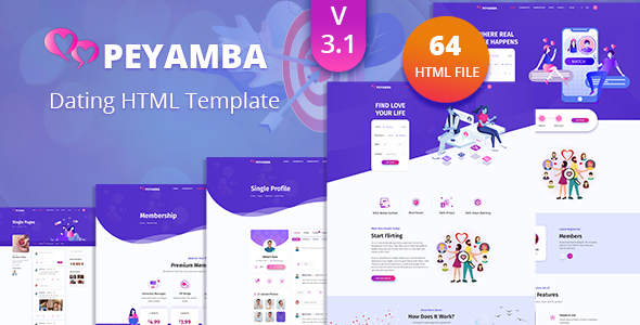 Wondrous Peyamba - Dating Website HTML Template