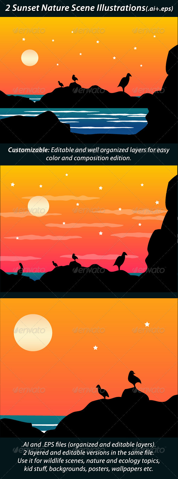 2 Sunset Nature Scene Illustrations - Landscapes Nature