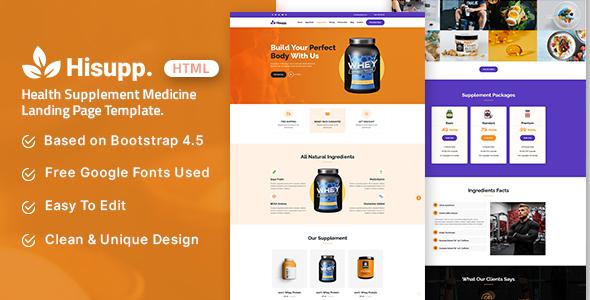 Hisupp - Health Supplement Medicine Landing Page Template