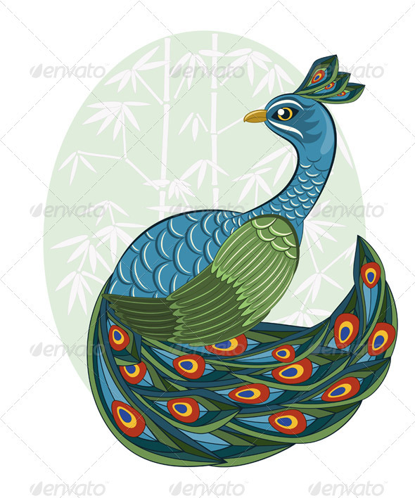 Vector Chinese Style Peacock - Animals Characters