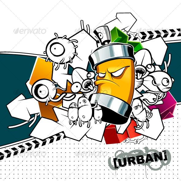 Strange Graffiti Image - Characters Vectors