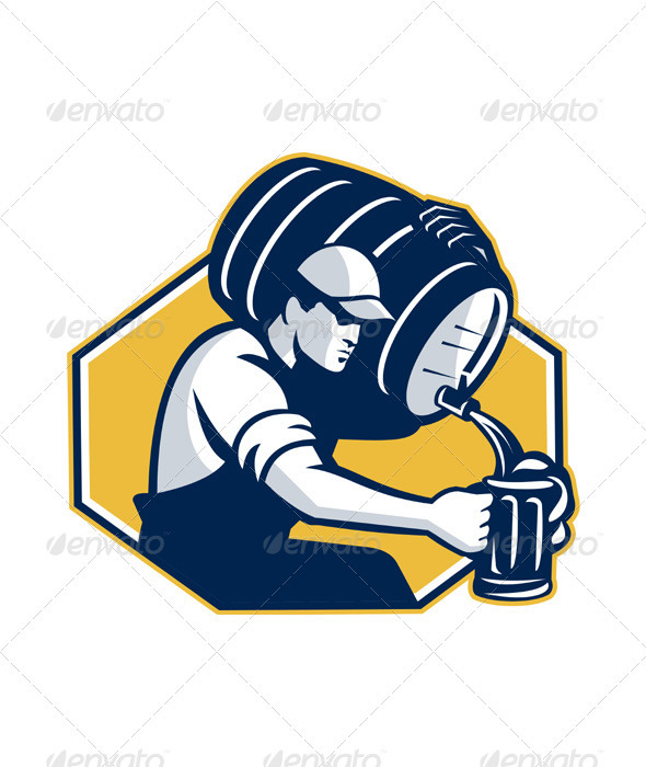Bartender Pouring Keg Barrel Beer Retro - People Characters