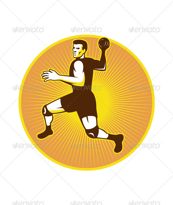 Handball Player Jumping Throwing Ball Scoring Retr - Sports/Activity Conceptual