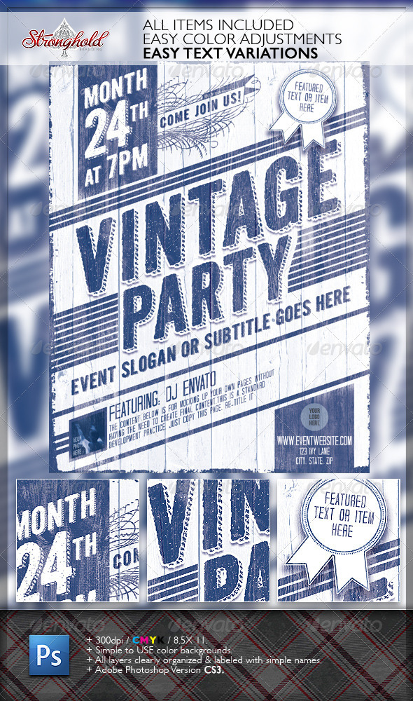 Vintage Party Wood Flyer Template - Events Flyers