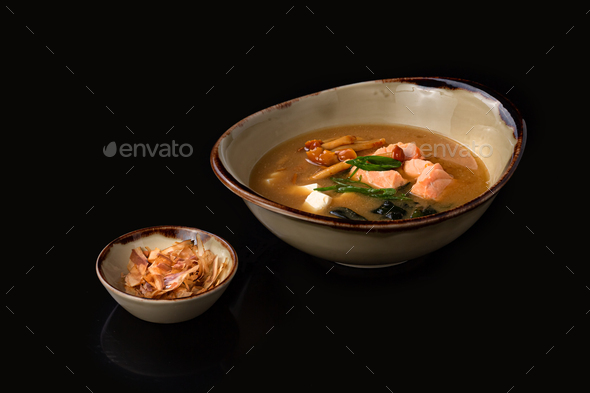miso soup with tofu and salmon, copy space - Stock Photo - Images
