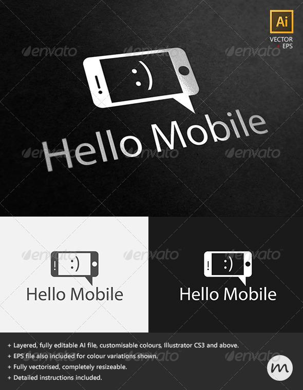 'Hello Mobile' Social Phone Logo Template - Symbols Logo Templates