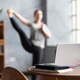 Blurred photo caucasian woman working yoga exercise doing balance exercise. - PhotoDune Item for Sale