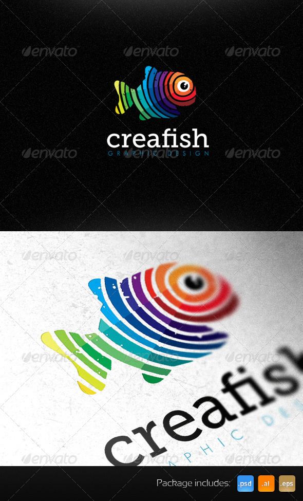 Creative Fish Graphic Design Studio Bright Logo - Animals Logo Templates