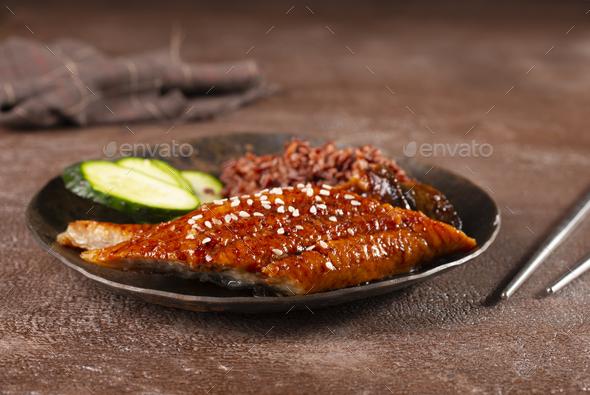 Fried unagi eel - Stock Photo - Images