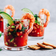 Refreshing Mexican Shrimp Cocktail with lime in glass on gray stone background - PhotoDune Item for Sale