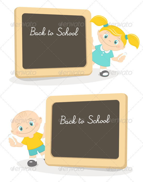 Boy And Girl With School Blackboard - People Characters