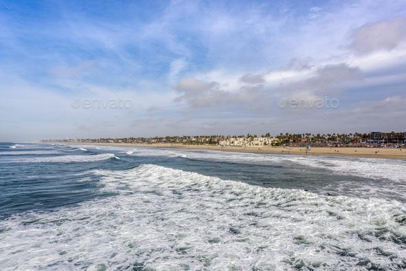 Huntington Beach California Shoreline - Stock Photo - Images