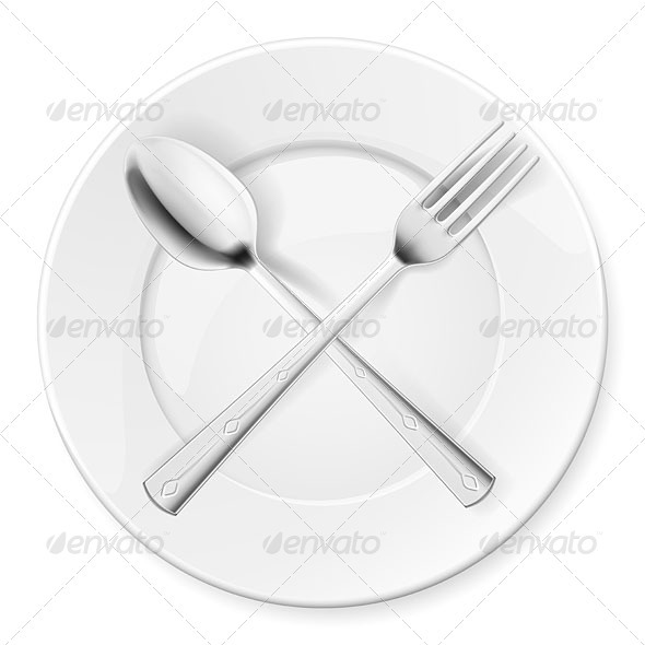 Spoon, fork and plate - Health/Medicine Conceptual