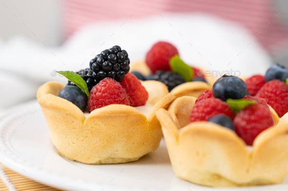 Mini fruit cream cheese tart - Stock Photo - Images