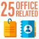 25 Business Office Related Flat Icon Set