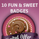10 Editable Photoshop Sweet and Retro Badges - GraphicRiver Item for Sale