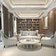 3d rendering wood classic living room with marble tile and bookshelf - PhotoDune Item for Sale